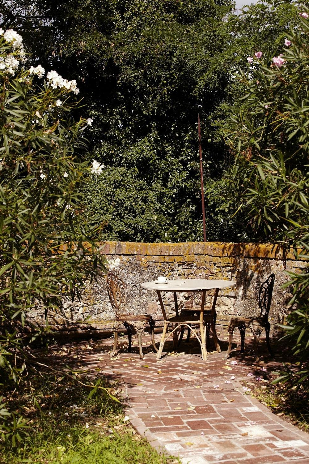Outdoor, Stone Fences, Wall, Trees, and Pavers Patio, Porch, Deck  Villa Lena Agriturismo