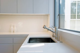 "Most often, Davis prefers Caesarstone's honed finish. ""It's not completely matte but it takes the glare off."""