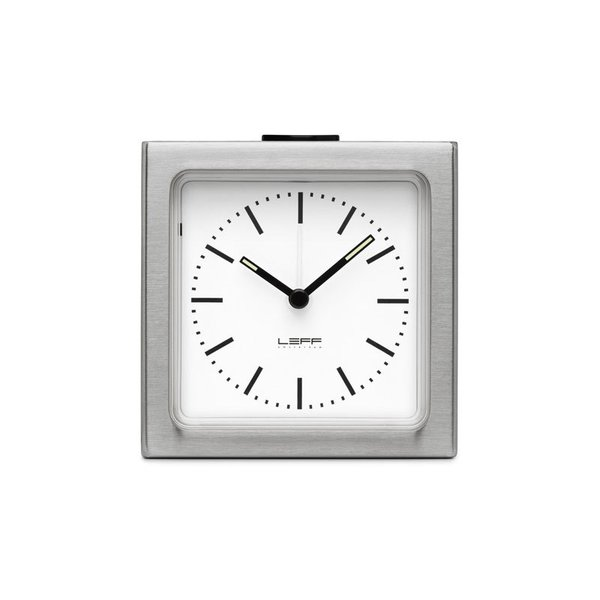 Leff Block Steel Clock - White Index