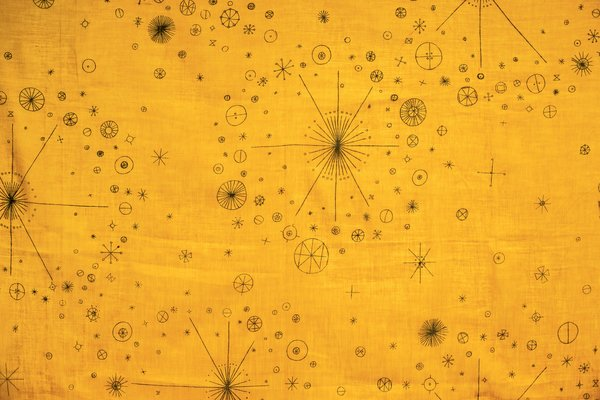 Her early textile designs, such as Nosegay (1950) show the influence of organic forms on her work and her signature use of bright colors.