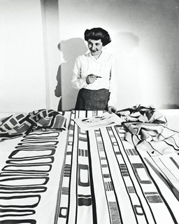 The designer in her studio with Slits and Slats (1947).