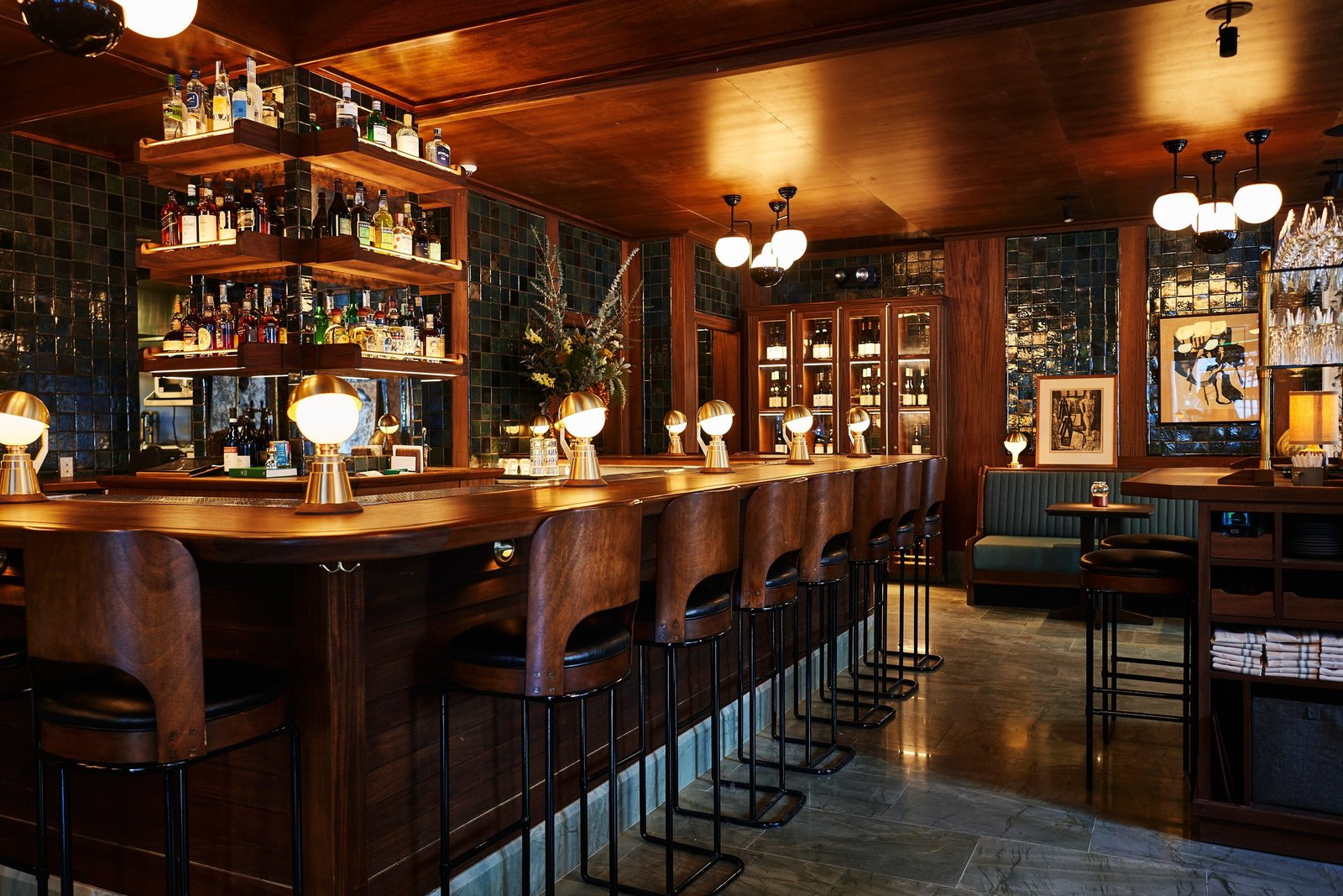 Dining Room, Table Lighting, Bar, Ceiling Lighting, and Stools  Freehand New York