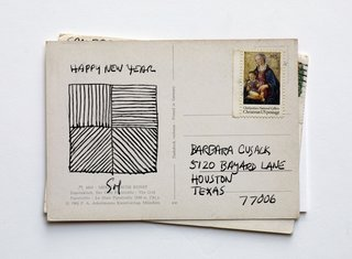Many of LeWitt's postcards came with artworks.