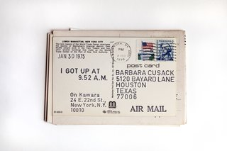 Conceptual artist On Kawara wrote to Hill 72 times, detailing the time he woke up that day.