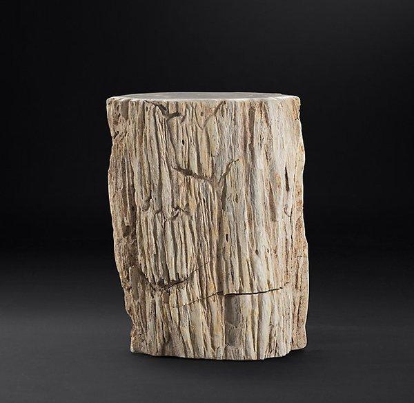 RH Modern Petrified Wood Stump Mixed Side Table