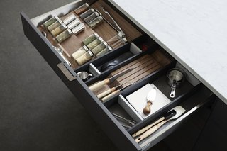 """Interior Components are designed to be specialized but flexible, allowing for optimal organization in the kitchen without tying you down to have things in a fixed location. """"[They] are designed to be highly specialized yet are like little sculptures in a place where you usually see a pile of 'stuff,'"""" says creative director Scott Hudson."""