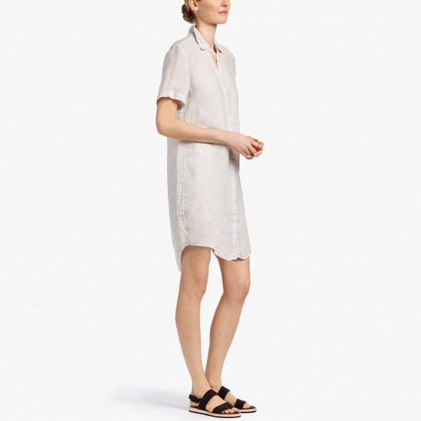 James Perse Lightweight Linen Shirt Dress - Calcite