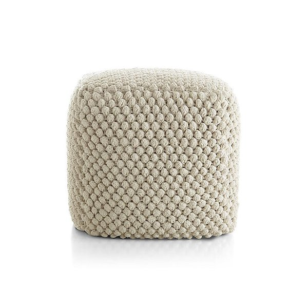 Crate & Barrel Buco Off-White Pouf