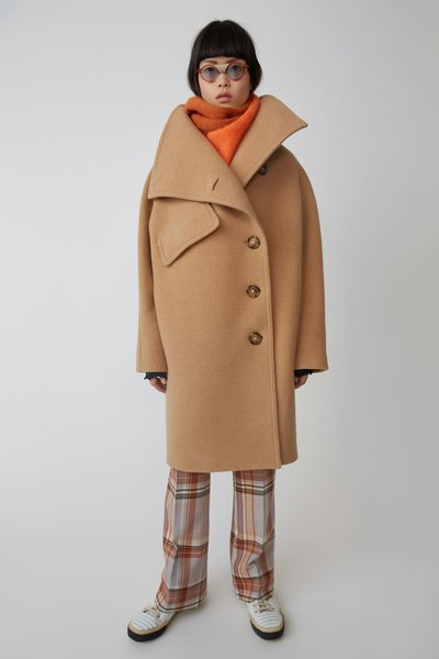Acne Studios Funnel Neck Coat - Camel Brown