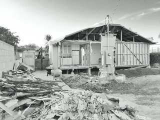 The bungalow in the midst of renovation.