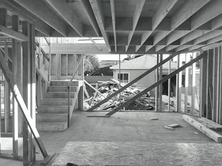 The rear of the house during renovation.