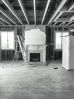 The living room during renovation.