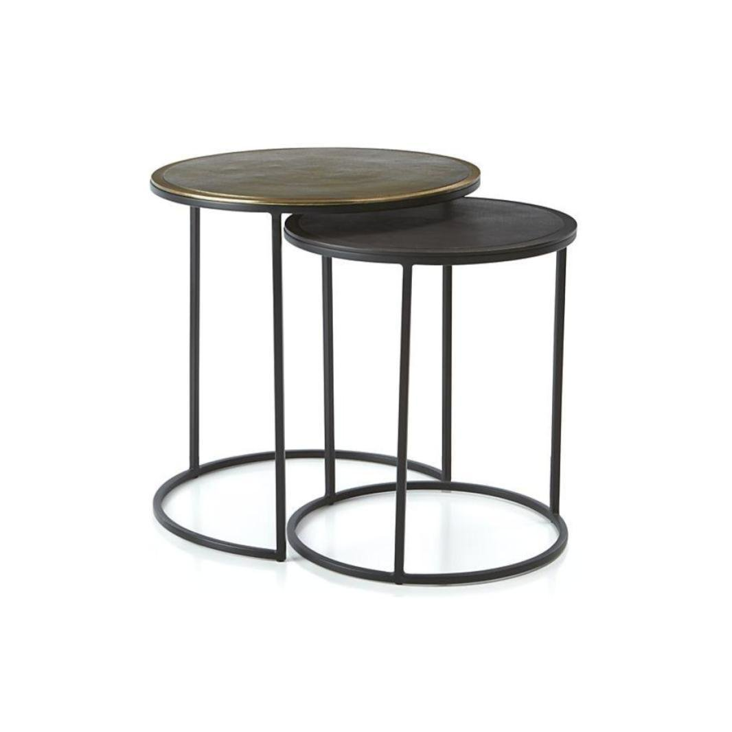 Crate barrel knurl nesting accent tables set of two