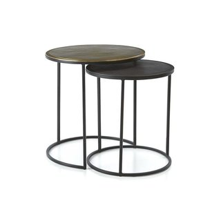 Crate & Barrel Knurl Nesting Accent Tables - Set of Two