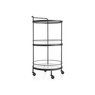 Crate & Barrel Round Bar Cart - Noir