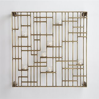 Crate & Barrel Grid Wall Candle Holder - Brass