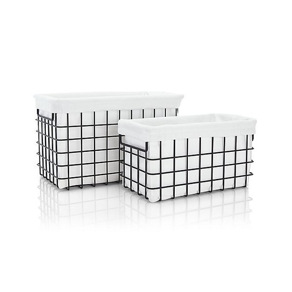 Crate & Barrel Black Wire Basket - Large