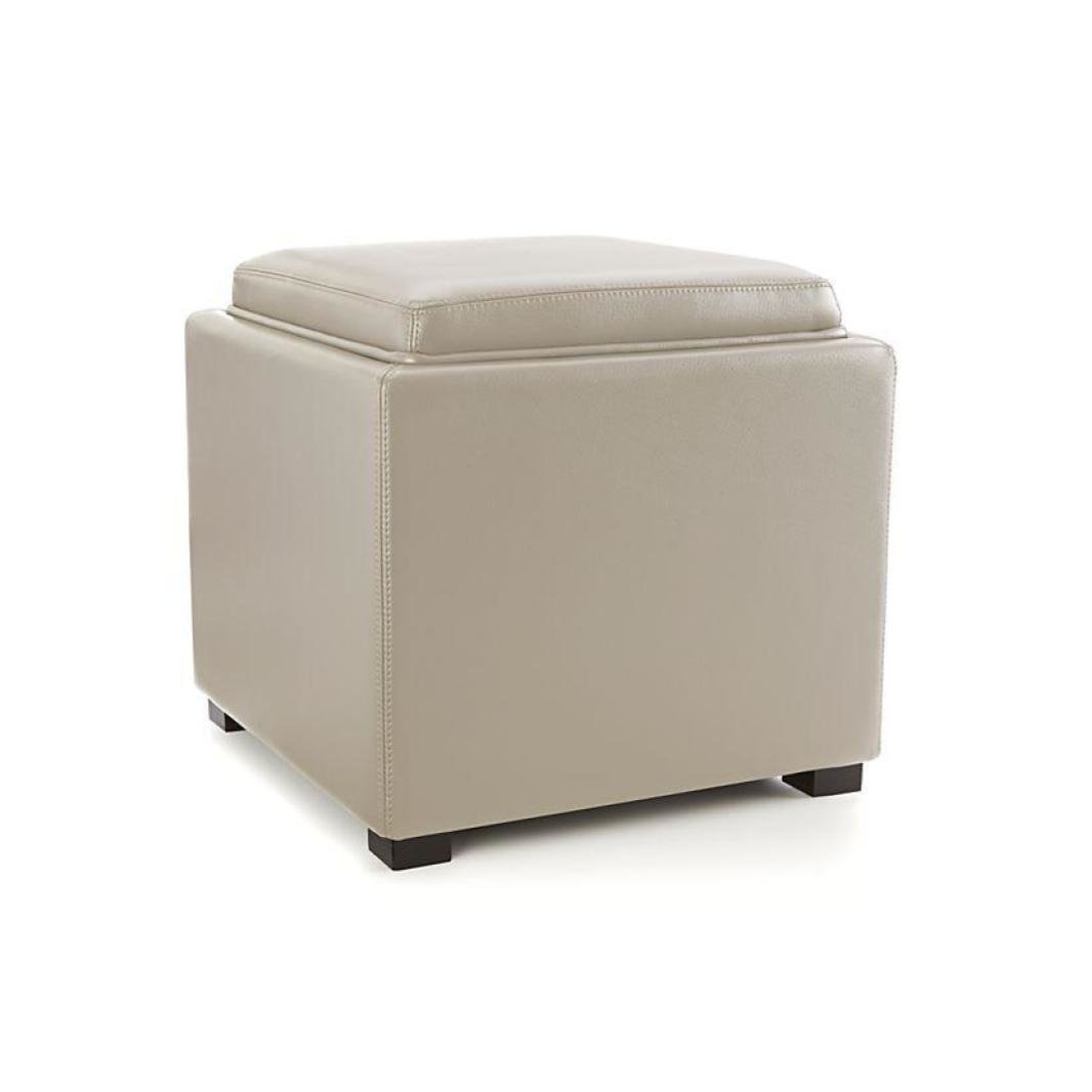 Incroyable Crate U0026 Barrel Stow Onyx 17u0027u0027 Leather Storage Ottoman   Oyster