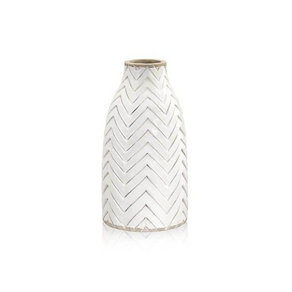 Crate & Barrel Adra White Chevron Vase