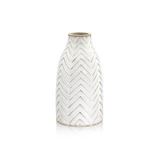 Crate & Barrel Adra White Chevron Vase