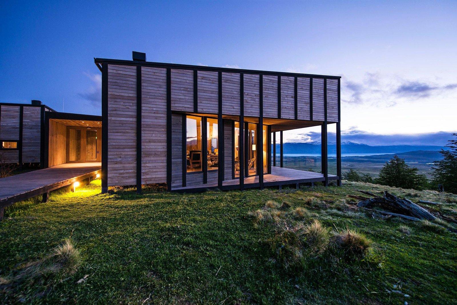 Outdoor, Shrubs, Small Patio, Porch, Deck, and Grass  Awasi Patagonia