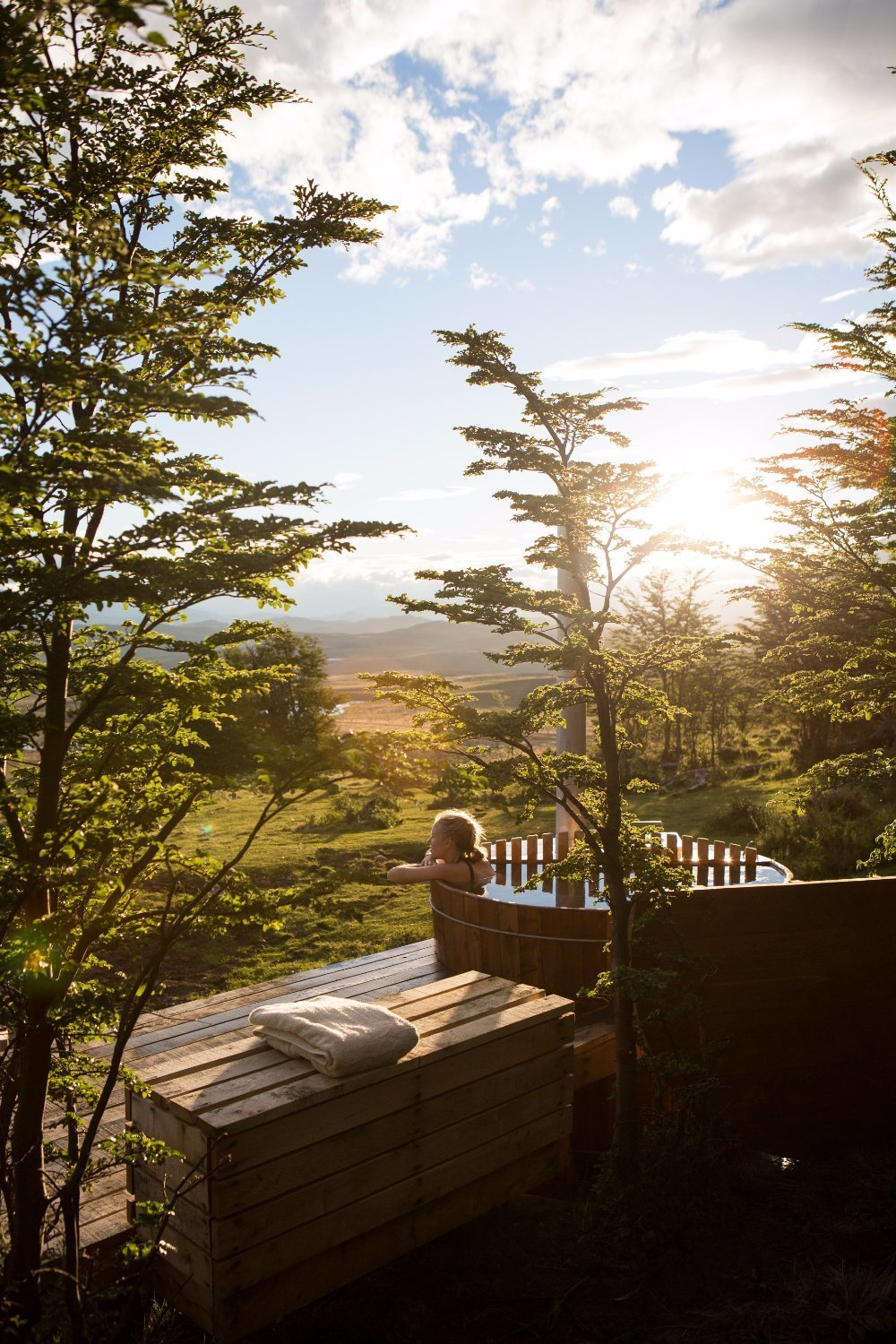 Outdoor, Trees, Wood Patio, Porch, Deck, Grass, and Hot Tub Pools, Tubs, Shower  Awasi Patagonia