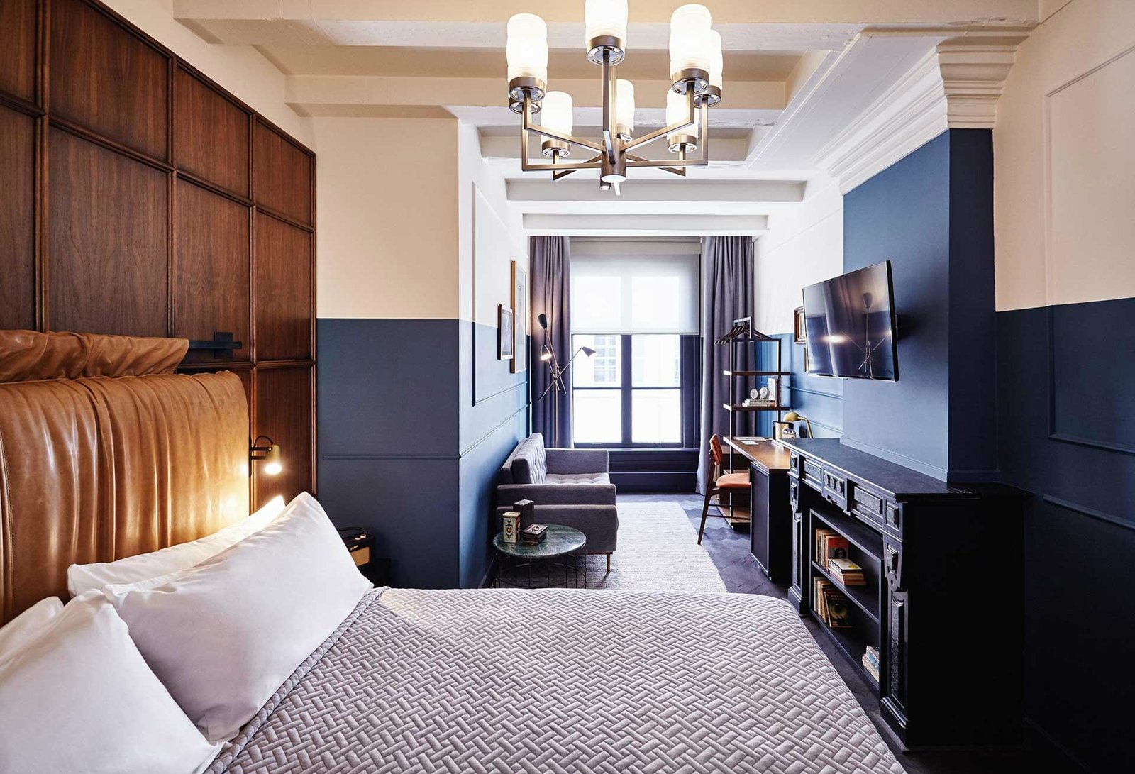 Bedroom, Pendant Lighting, Bed, Wall Lighting, and Rug Floor  The Hoxton Amsterdam