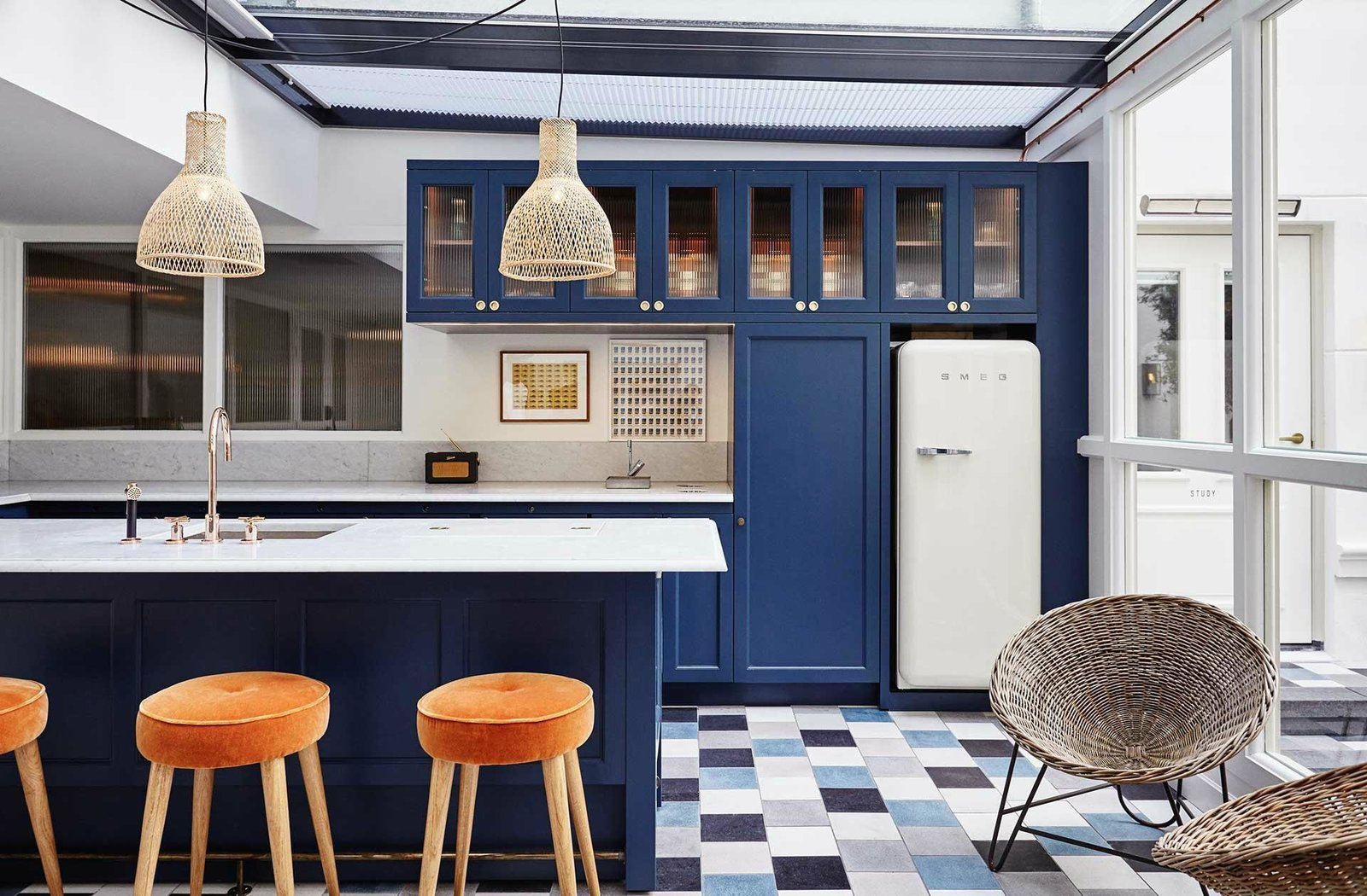 Kitchen, Refrigerator, Colorful Cabinet, Pendant Lighting, and Undermount Sink  The Hoxton Amsterdam
