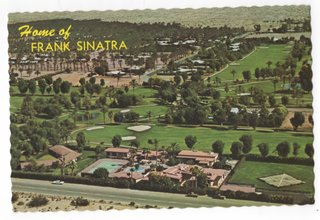 A historic postcard sends greetings from the home of Frank Sinatra.