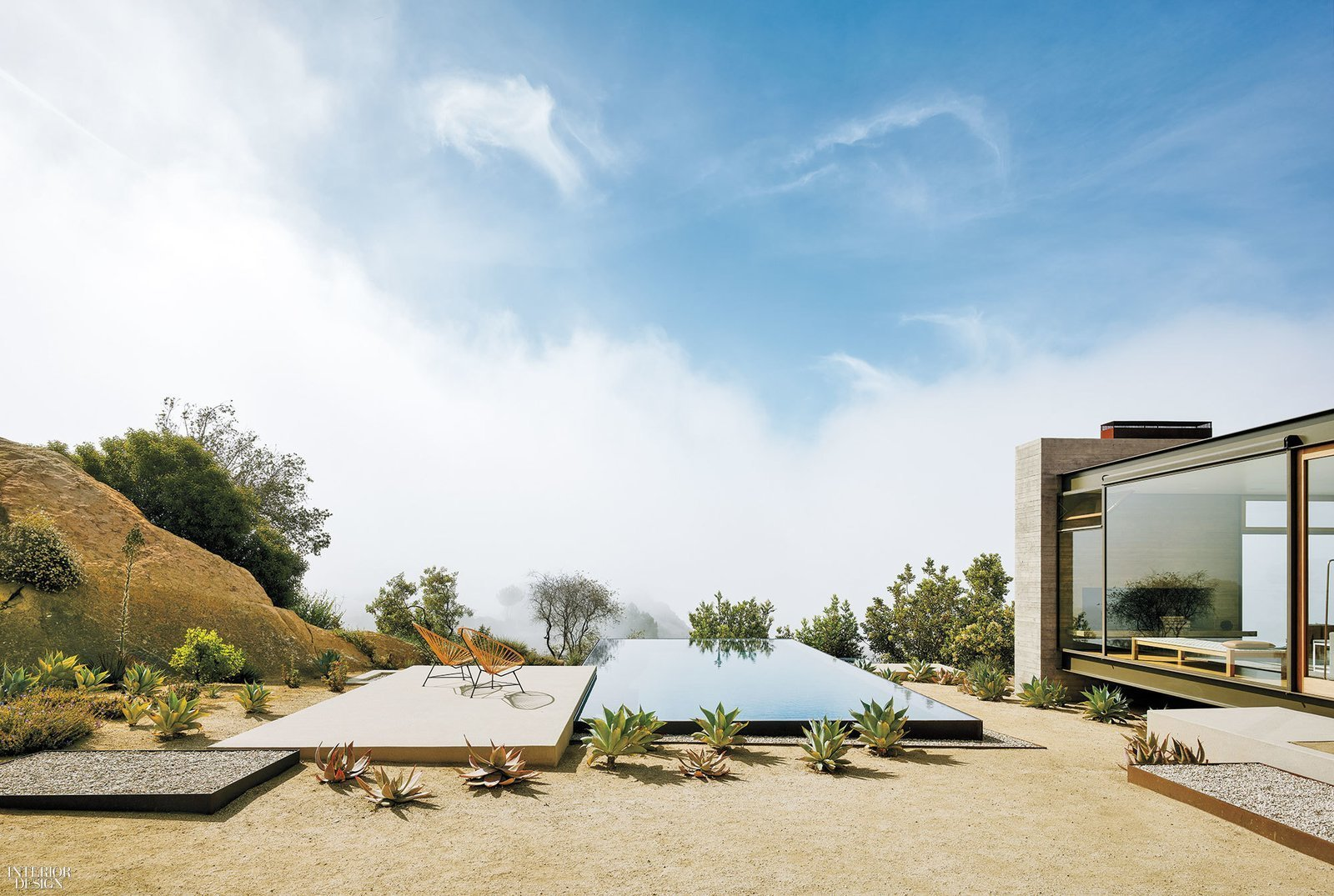 Outdoor, Infinity, Side Yard, Small, and Concrete  Best Outdoor Concrete Infinity Photos from Take Your Next Vacation in a Midcentury Home in the Santa Monica Mountains