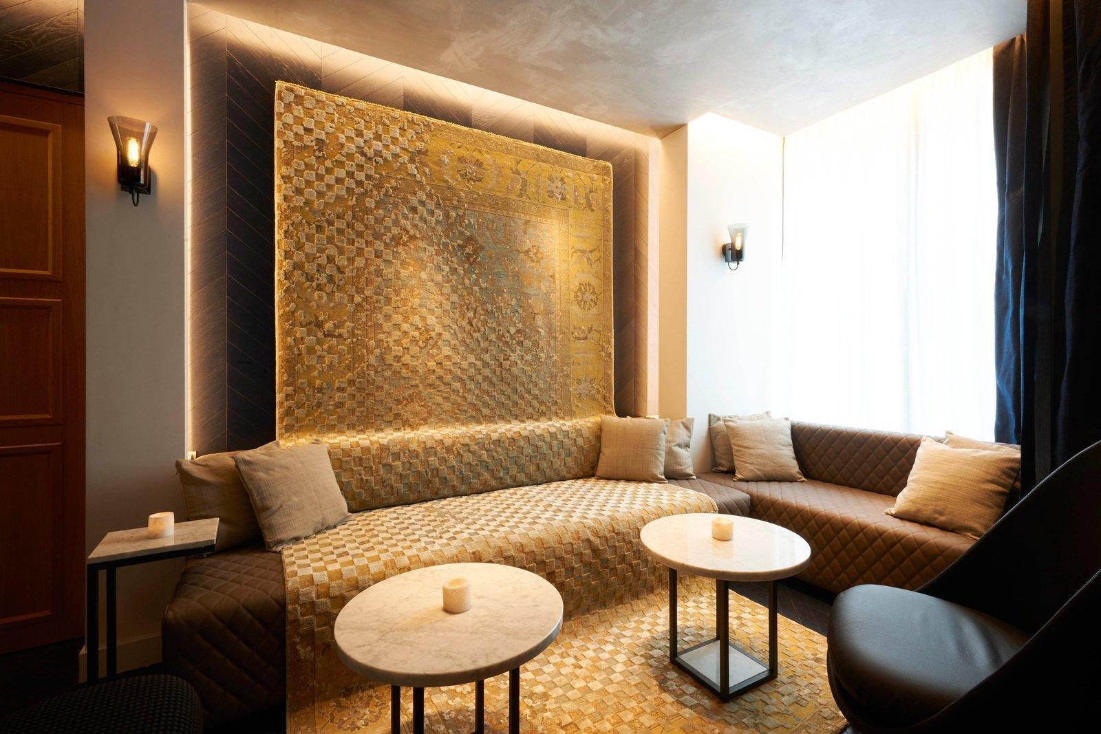 Living Room, Sofa, Coffee Tables, and Wall Lighting  Amastan Paris