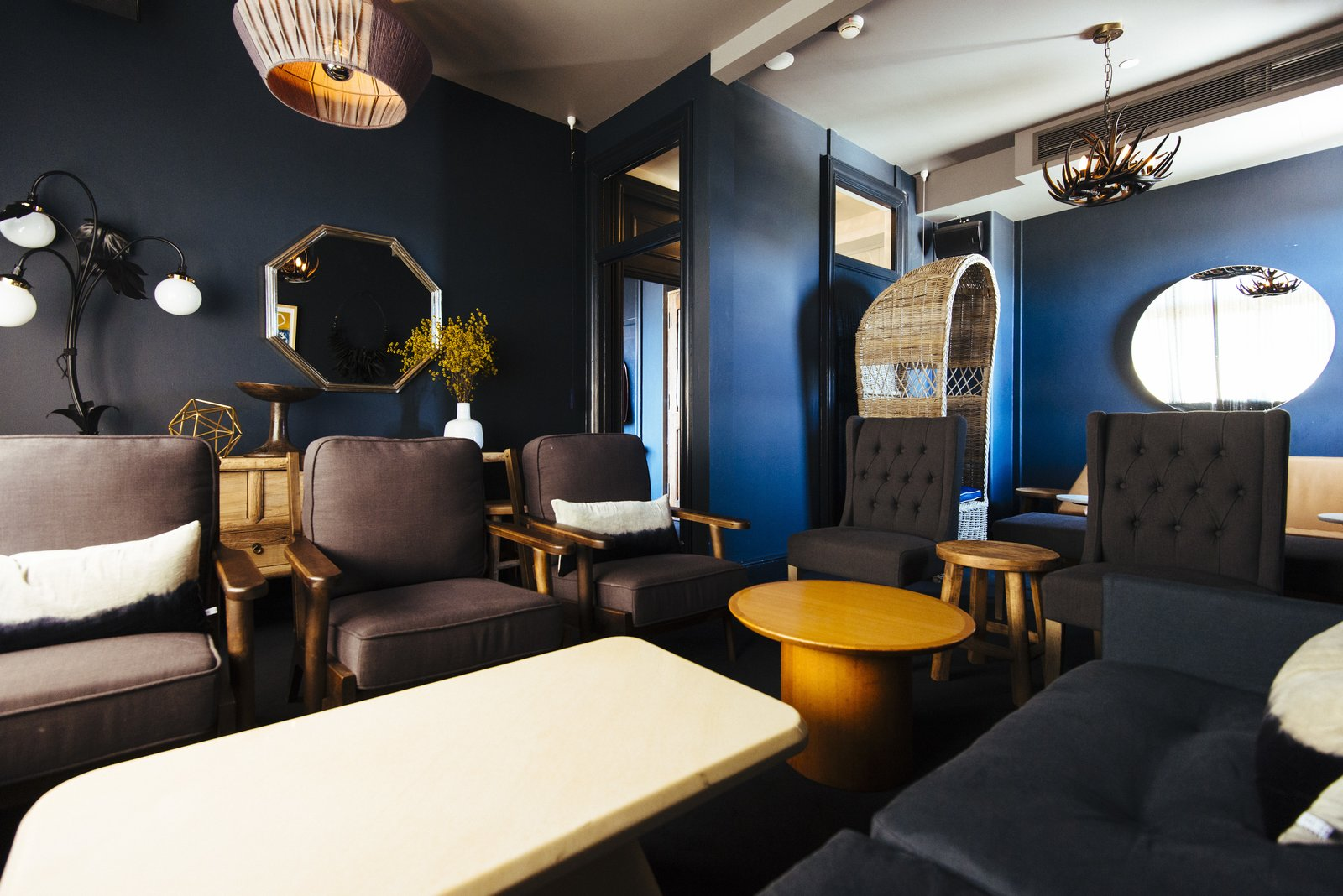 Living Room, Chair, Pendant Lighting, Wall Lighting, End Tables, Sofa, and Coffee Tables  Hotel Palisade