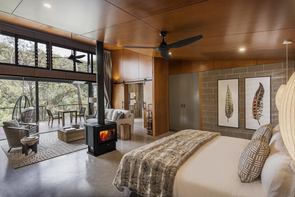 Bedroom, Chair, Bed, Recessed Lighting, and Rug Floor  Spicers Sangoma Retreat