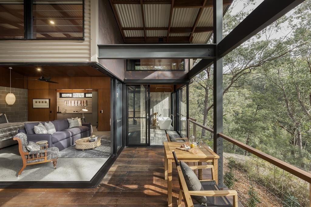 Outdoor, Horizontal Fences, Wall, and Wood Patio, Porch, Deck  Spicers Sangoma Retreat