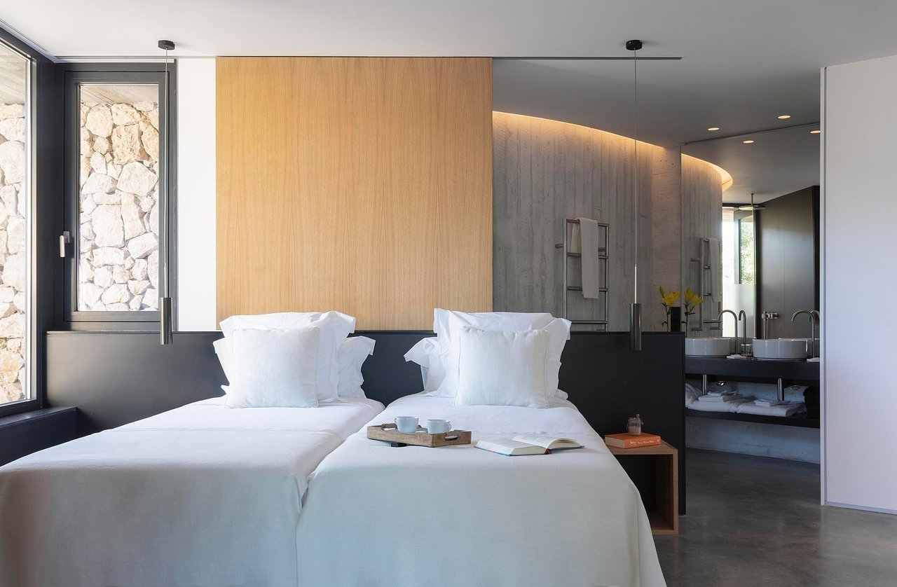 Bedroom, Pendant Lighting, Night Stands, Recessed Lighting, and Bed  Son Brull Hotel & Spa