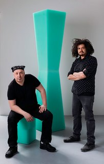 "Nebojsa ""Shoba"" Sheric and Quincy Ellis of Brooklyn-based Facture Studio. ""We're still so intrigued by resin's Popsicle properties,"" says Ellis."
