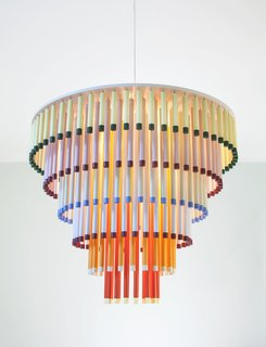 "Anonen's colorful Cocktail light is composed of ""playfully shuffling"" colored sticks."