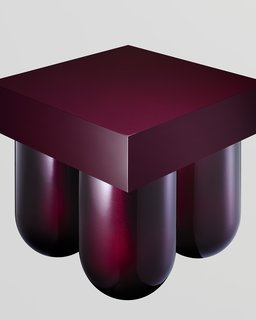 Álvaro Gómez-Sellés and Marisa Müsing, known jointly as Müsing–Sellés, created a portly plywood cocktail table, coated in reflective aubergine gloss, as part of their new line.