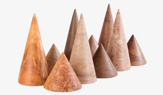 Marlo & Isaure's handmade, cone-shaped Kheops paperweights come in five shades of Tunisian marble.