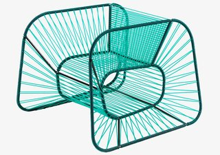 The Emptiness chair, one of multiple seats in Raiko Valladares and Jose Villa Sene's Vibra line, is inspired partly by string instruments.