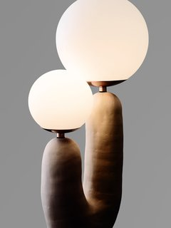 Eny Lee Parker's hand-formed ceramic Oo lamp has a sculptural quality that distinguishes her furniture and lighting.