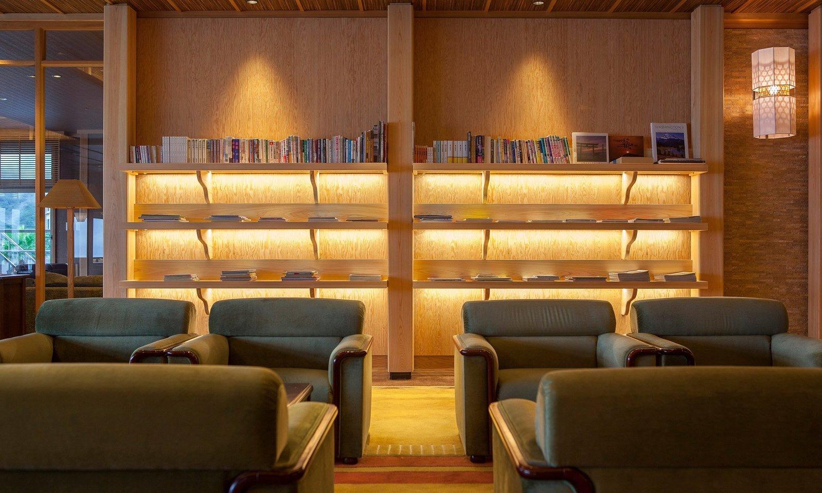 Living Room, Accent Lighting, Wall Lighting, Chair, Coffee Tables, and Shelves  Villa Rakuen