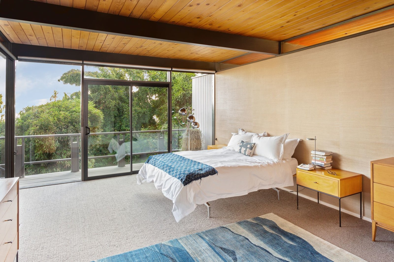 Bedroom, Bed, Dresser, Table, Night Stands, Rug, Carpet, and Floor  Bedroom Carpet Floor Night Stands Photos from This Post-and-Beam in Pasadena Offers Classic California Living For $2M