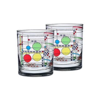 Frank Lloyd Wright Coonley Playhouse Double Old Fashion Glasses (Set of 2)