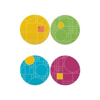 Frank Lloyd Wright Coonley Playhouse Dots Coaster Set