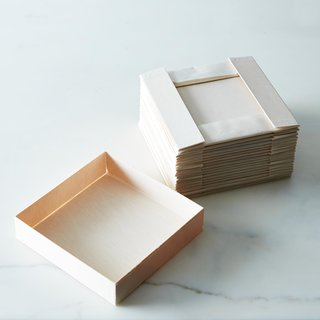 Verterra Collapsible Wooden Square Plates (Set of 20)