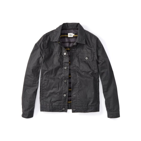 Flint and Tinder Flannel-lined Waxed Trucker Jacket in Coal