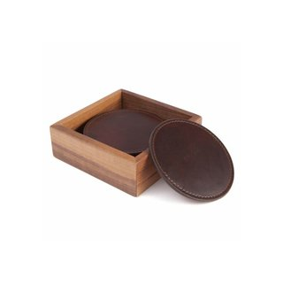 Moore & Giles Leather Coasters with Walnut Box