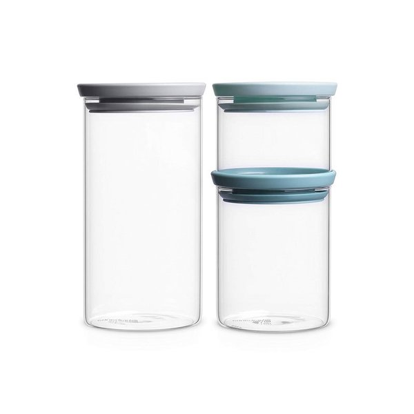 Brabantia Set of Stackable Glass Jars
