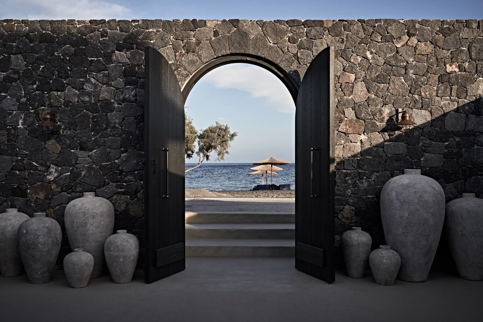 Outdoor, Stone Fences, Wall, and Large Patio, Porch, Deck  Istoria Hotel